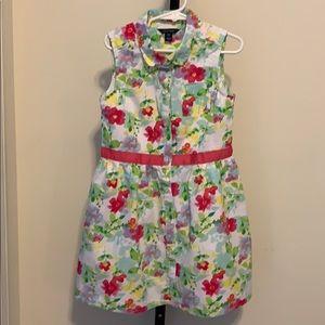 Girl's Nautical Floral Sleeveless Dress Size 7 SM